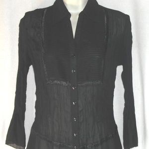 NOTATIONS blouse S Black Semi Sheer Crinkle Pleat